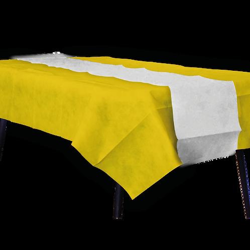 Mantel Amarillo Con Camino Liso Blanco