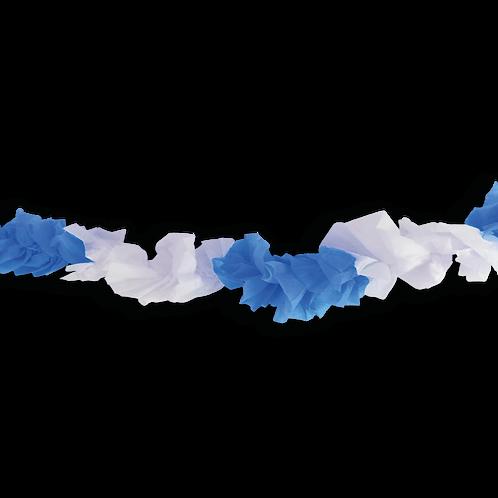 Guirnalda Hawaiana Celeste y Blanco 1mts x1