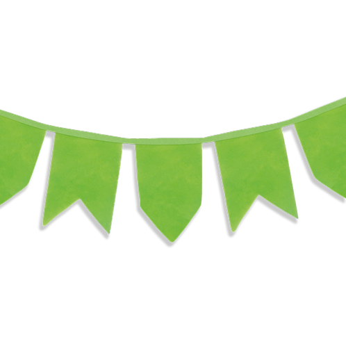 Banderín Vintage Liso Verde Manzana x5