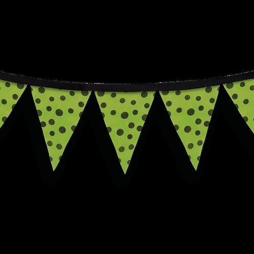 Banderín Verde Con Lunares Negros x5