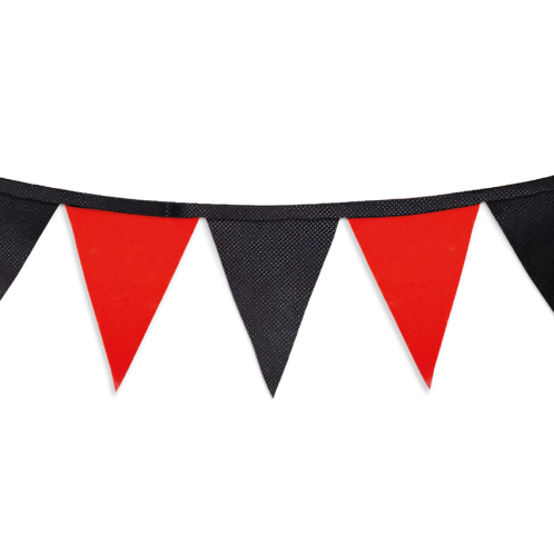 Banderín Liso Rojo y Negro x5
