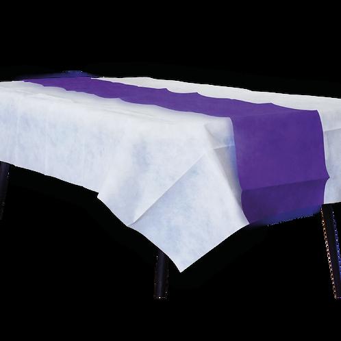 Mantel Blanco Con Camino Liso Violeta