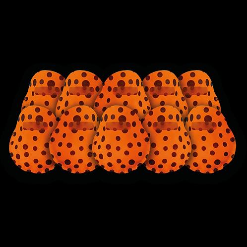 Bolsita Redonda Naranja a Lunares Negros x10