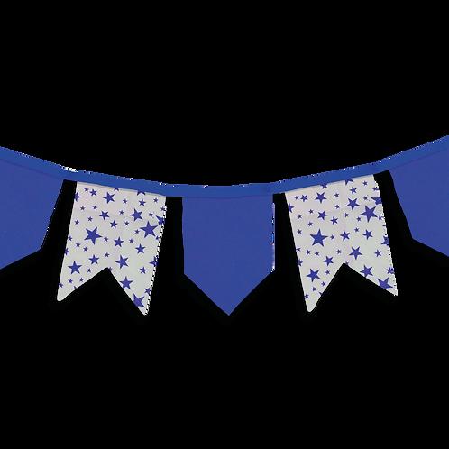 Banderin Vintage Estrellas Azul x5
