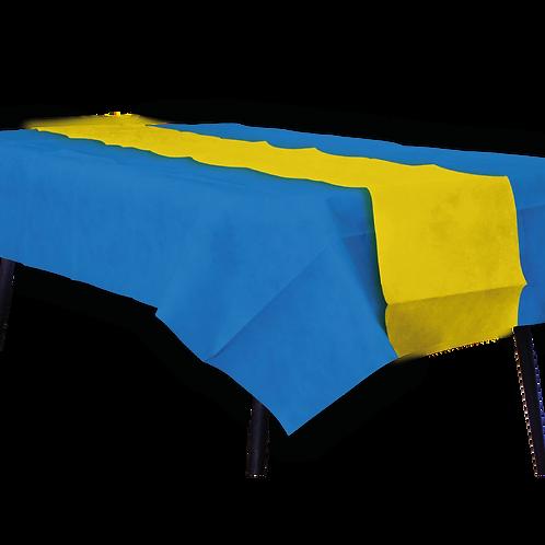 Mantel Azul Con Camino Liso Amarillo