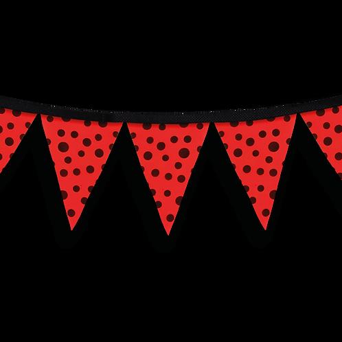 Banderín Rojo Con Lunares Negros x5