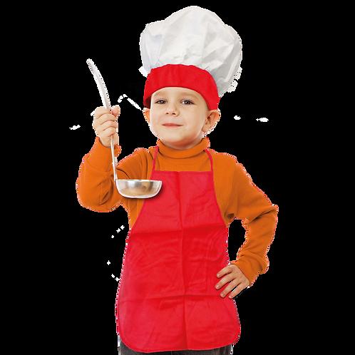 Set de Cocinero Niño Liso Rojo