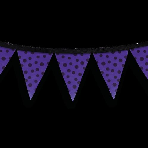 Banderín Violeta Con Lunares Negros x1