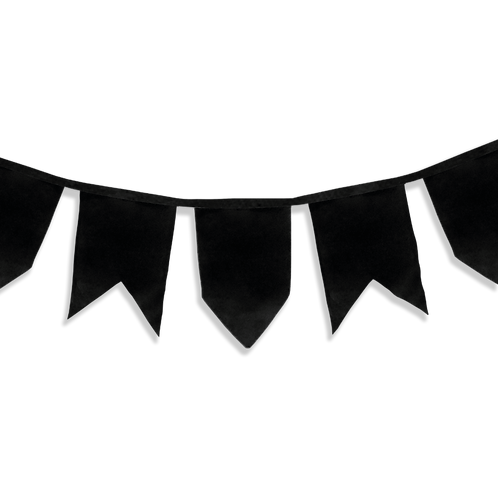 Banderín Vintage Liso Negro x5