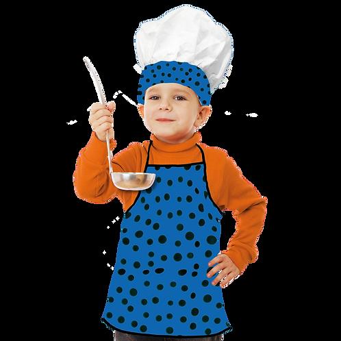 Set de Cocinero Niño Azul Lunar Negro