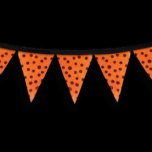 Banderín Naranja Con Lunares Negros x5