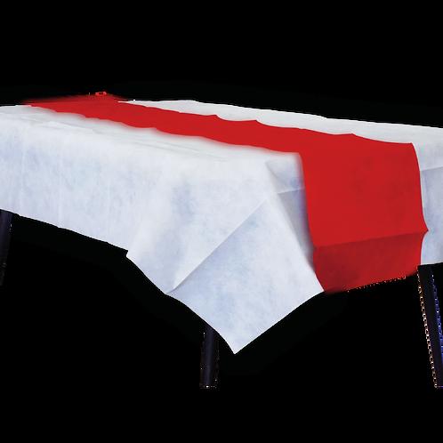 Mantel Blanco Con Camino Liso Rojo