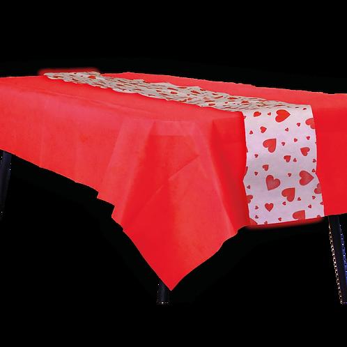 Mantel Rojo con Camino Corazon Rojo
