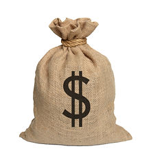 Bag from Dollars isolated on a white bac