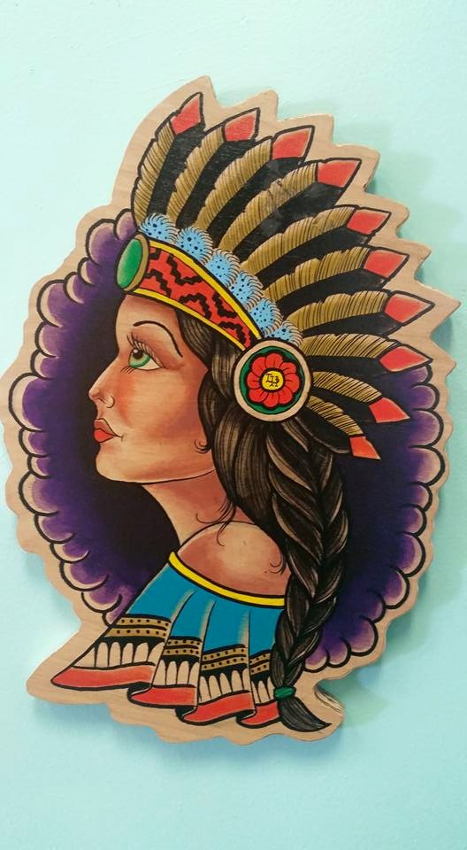 Wood Cut Indian Pin Up