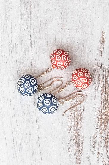 """Samunnat Single bead earrings """"Bindu Bullseye"""" style"""