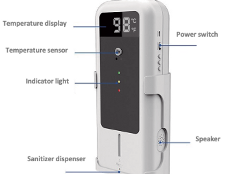 Touch-less Temperature Thermometer System with Hand Sanitizer Dispenser