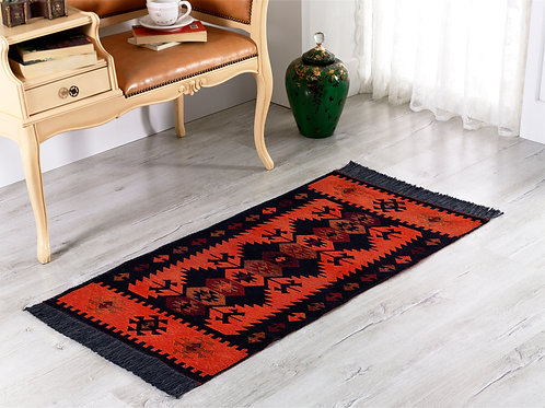 Modern Bohemian Style Small Area Rug - 60x120 cm (Black-Orange)