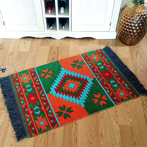 Traditional Area Rug - 60x120 cm (Green-Orange-Turquoise)
