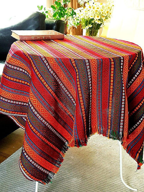 Ethnic Pattern Tablecloth, 100x100 cm (Color: Hot Chili)