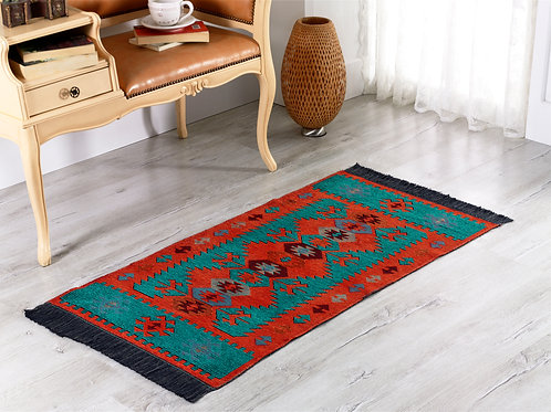 Modern Bohemian Style Small Area Rug - 60x120 cm (Turquoise-Orange)