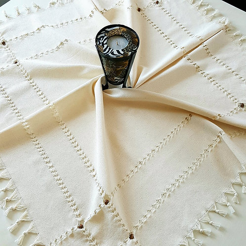Handmade Traditional Tablecloth with 16 Wooden Beads, 90x90 cm, 100% Cotton