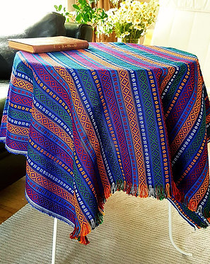 Ethnic Pattern Tablecloth, 100x100 cm (Color: Deep Sea)