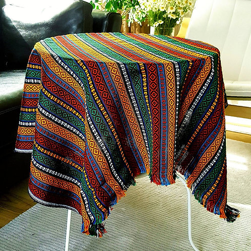 Ethnic Pattern Tablecloth, 100x100 cm (Color: Autumn Rain)