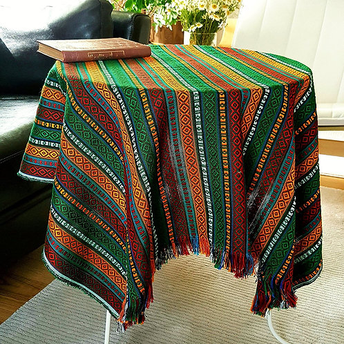Ethnic Pattern Tablecloth, 100x100 cm (Color: Soul of the Forest)