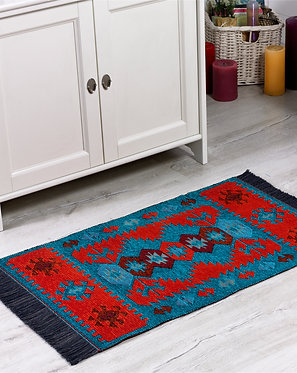 Modern Bohemian Style Small Area Rug - 60x90 cm (Turquoise-Orange)