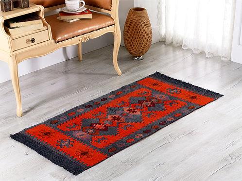 Modern Bohemian Style Small Area Rug - 60x120 cm (Charcoal Grey-Orange)