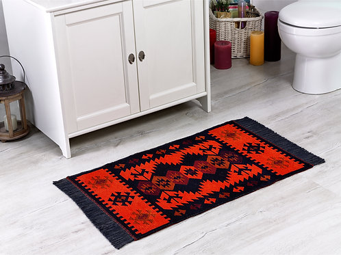 Modern Bohemian Style Small Area Rug - 60x90 cm (Black-Orange)