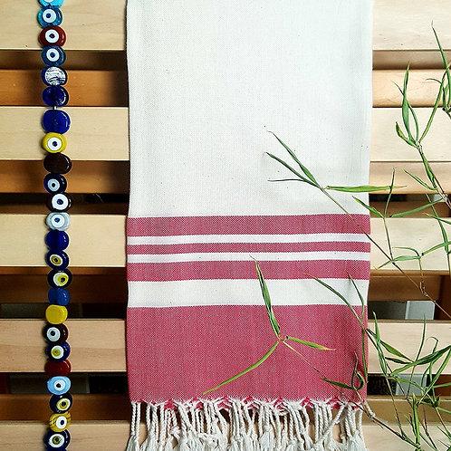 Bamboo Peshtemal Towel, 85x175cm (Pomegranate Red)