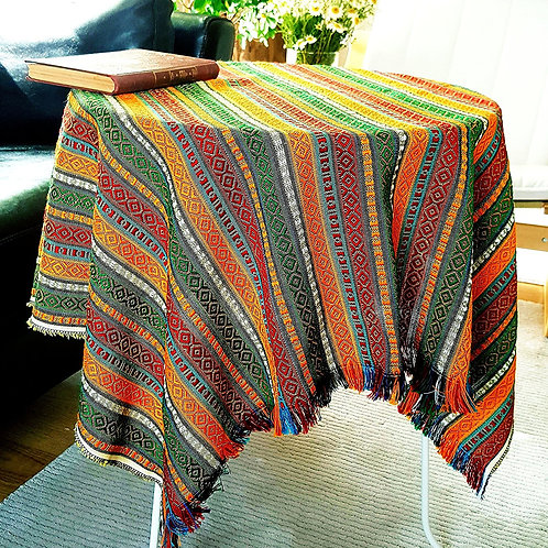 Ethnic Pattern Tablecloth, 100x100 cm (Color: Happy Summer)