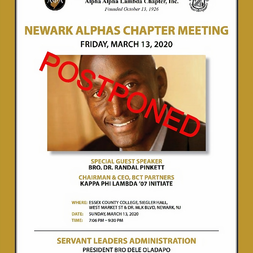 Alpha Alpha Lambda March 2020 Chapter Meeting (CANCELED)