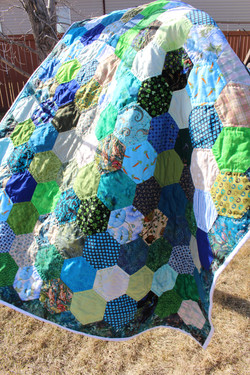 Blue and Green Hexie Quilt