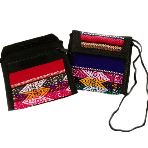 Manta Coin Purse w/ string Multicolor Cotton Woven Peru