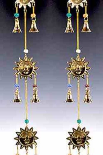 """3 Sun Brass Chime with Beads - 22""""L"""