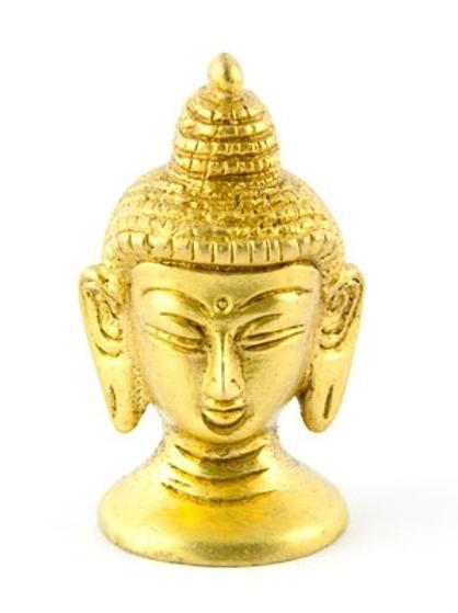 "Buddha Head Brass Statue - 2.5""H, 1.25""W"