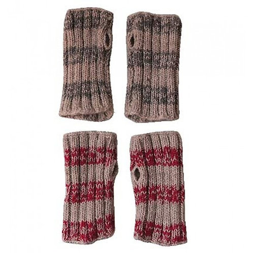 Striped Fingerless Gloves 100% Wool