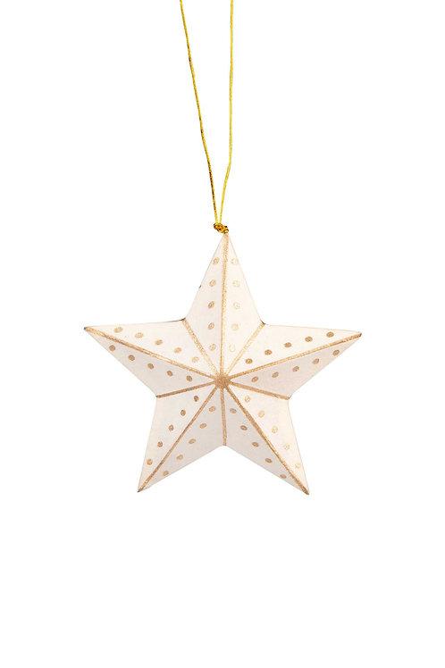 White & Gold Star Ornament