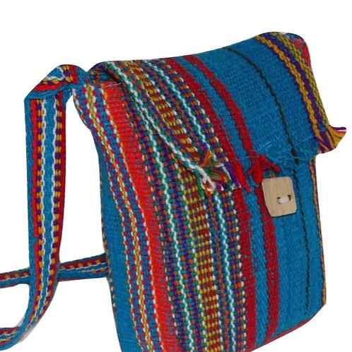 """Striped Wool Purse Tote Bag School Pouch Hand Woven 10""""x12"""" Fair Trade Peru"""