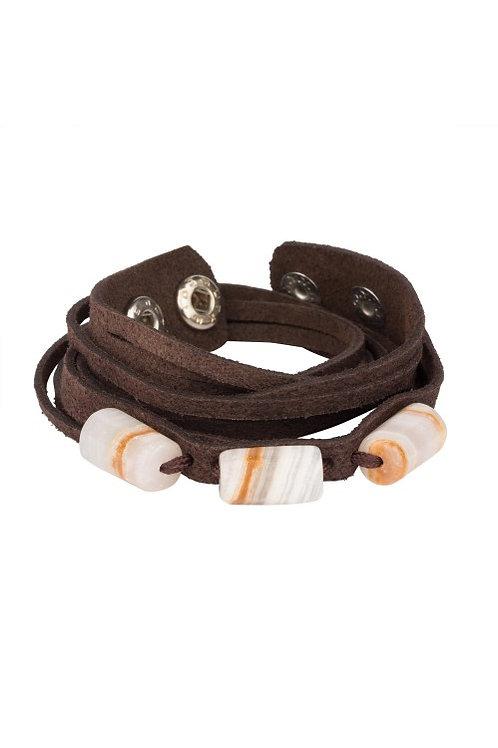Wrap-around Onyx Beaded Leather Bracelet