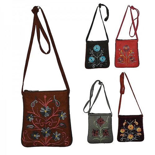 Faux suede flower embroidery crossbody bag