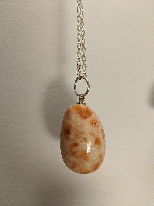 Sunstone Teardrop Pendant Necklace