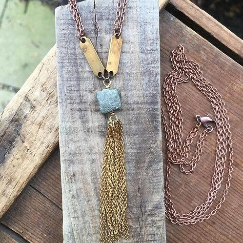 Pyrite Fringe Tassel Necklace