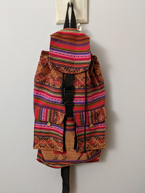 """Large Size BackPack Peru Cotton Manta Two Pocket Hand Loomed Fabric 12"""" x 18"""" x"""