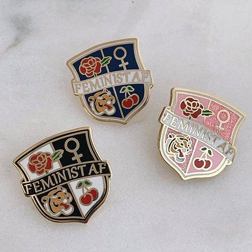 Feminist AF Crest Enamel Pin (Black or Pink)