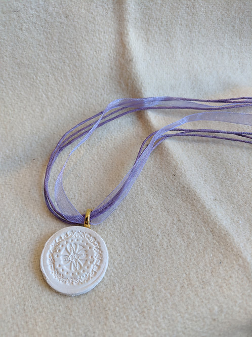 Clay Lavender Ribbon Essential Oil Necklace