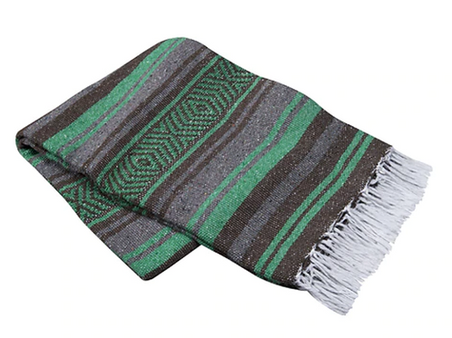 """Green/Brown Mexican Cotton Blanket 75"""" x 53"""""""